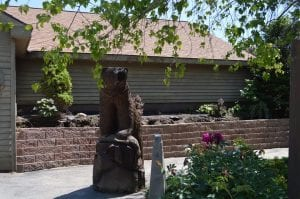 Bear statue at Lanzi's on the Lake